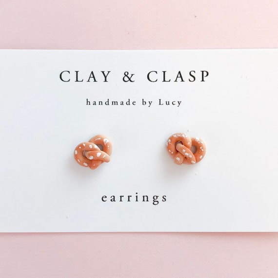 Pretzel Earrings - beautiful handmade polymer clay jewellery by Clay & Clasp