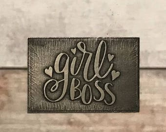 Metal etched girl boss personalized pendant necklace or bracelet