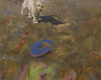 Original Framed Oil Painting by Kathleen Coy. Graffiti Dog.