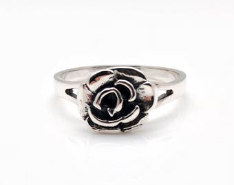 Silver Rose Ring // 925 Sterling Silver // Hand Cast // Gift for Her