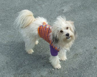 Knitted coat hands for small dogs