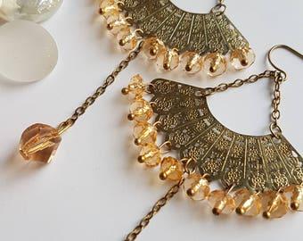 Gold Fan Dangle Earrings, Long Dangle Earrings, Fan shaped earrings