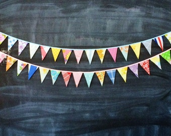 Colorful Mini Flag Bunting / Wedding Reception Party Decoration / Vintage Barn Rustic Wedding / Aisle Decoration / Fabric Flag Bunting