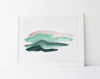 Watercolor Painting, Modern Watercolor Fine Art Giclée Print, Abstract Landscape, Green and Pink