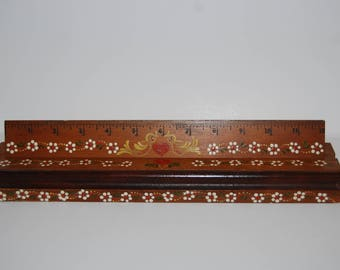 Vintage Hand Painted Wood Ruler with Stand