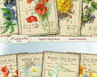 75% OFF SALE Maison Flowers - Digital Collage Sheet Digital Cards C158 Printable Download Image Tags Flowers Atc Cards Invoice ACEO Cards