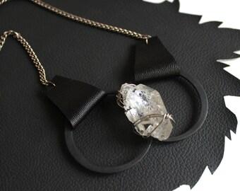 Herkimer Diamond & Leather Lita Necklace
