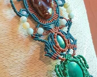 Designer necklace, micro-macrame and semi-precious stones