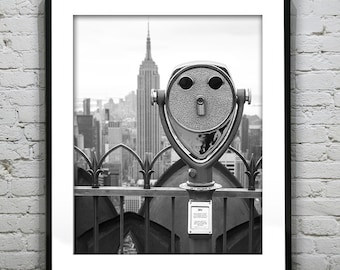 Empire State Building New York City Skyline Black and White Wall Art Photography Poster Print
