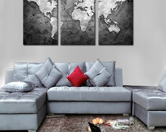 Map of the World- Large Split Framed Canvas Print