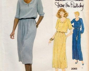 "Vintage Sewing Pattern Ladies Dress 1970's Vogue 2065 Couturier Design Diane Von Furstenberg 34"" Bust - Free Pattern Grading E-book Included"