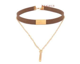 Choker chain necklace pendant-brown gold