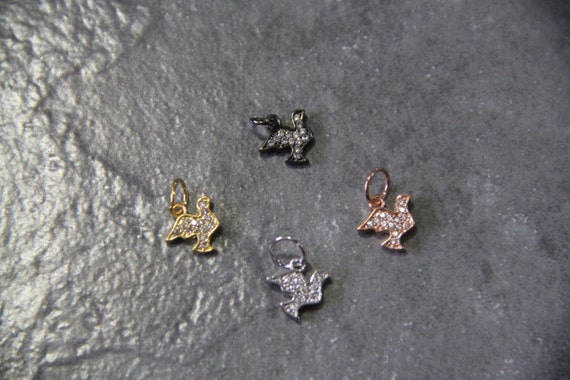 CZ Micro Pave 9mm Pigeons  Charm with Jump Ring