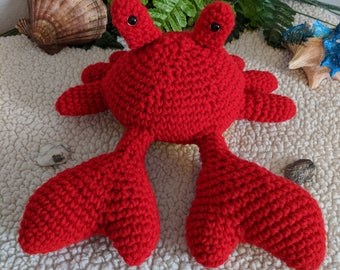 READY to ship item, Mr. Crab, Crab, Red, Stuffed Animal, Handmade, Amigurumi, Skylark Crafts Shop