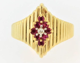 Antique 70s Ruby And Diamond Ring- 14k Yellow Gold