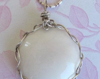 "White Quartz/Quartzite ""Full Moon"" Round Gemstone Pendant, .925 Sterling Silver Handmade Wire Wrapped Necklace, Reiki Chakra Healing Stone"