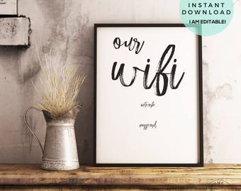 Our Wifi Sign | Our Wifi Printable | Customizable Wifi Sign | Wifi Password Printable | Wifi Password Sign | Internet Password | Guest Wifi