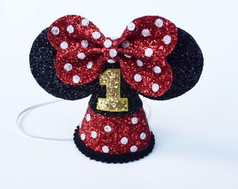 Minnie Mouse Party Hat | Disney Birthday Party Hat | smash cake | glitter hat | Minnie Mouse ears | Baby First birthday | disney party