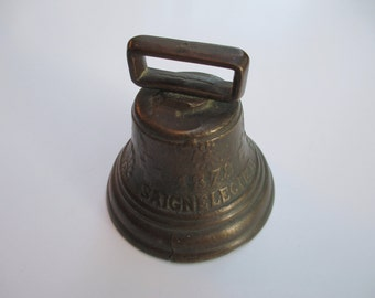Vintage BRASS CHIANTEL FONDEUR Cowbell Sheepbell, Embossed with 1878 Saignelegier.  Bell collectible!