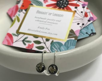 Sterling Silver Earrings, Black with White Wildflowers in Resin, Leverback Style, Elegant and Dainty