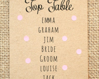 Pastel Polka Dot Table Plan Card
