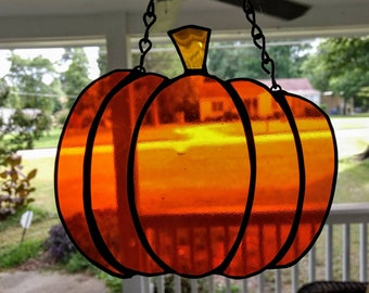 Handmade Stained Glass Pumpkin Suncatcher