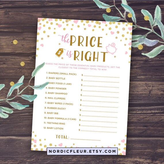Price Is Right Baby Shower Game Pink And Gold Baby Shower