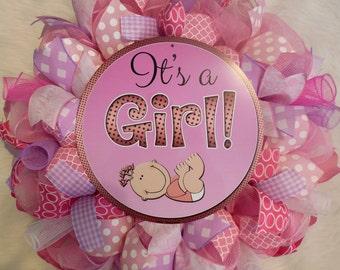 Baby Shower Wreath, Babyshower Wreath, Baby Girl Wreath, Its a Girl Wreath, Babyshower Decor, Baby Shower Decor, Girl wreath, baby wreath