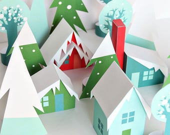 3D Printable Holiday Houses in the Woods - Christmas Village - Paper Forest - Paper Houses
