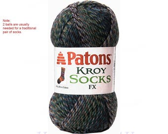 CASCADE COLORS. Patons Kroy FX Sock yarn is a washable wool blend, super fine, Greenish Washable wool sock yarn. 2 balls = 1 Pair <