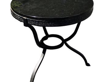 Art Deco Style Wrought Iron U0026 Marble Top Console Side Table