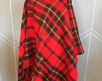 Vintage Faribo Red Plaid Tartan Poncho / Planket, Red Plaid Stadium Blanket Throw Faribault Woolen Mill, Faribault Minn