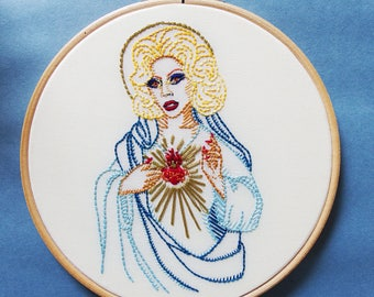 RuPaul as the Madonna with sacred heart hand embroidered hoop art wall decor inspired by RuPaul's Drag Race