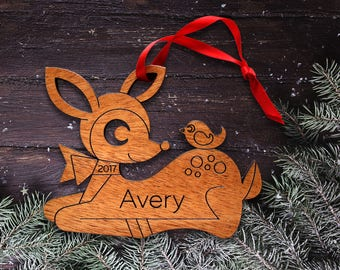 Wooden Deer Animal Ornament: Personalized Name, Baby's First Christmas 2018, Cute Kawaii Woodland Theme for Girls, Kids