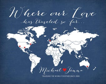 Where our Love Has Traveled -  Personalized Map Art Print, Wedding Gift, Couple who Loves to Travel, World Travel Couple - Honeymoon WF39