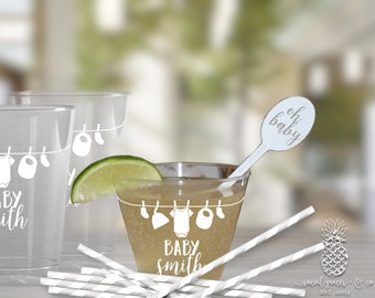 Clothesline Baby Shower | Customizable Plastic Disposable Party Cups | social graces and Co
