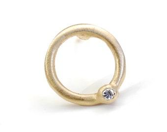 Delicate Gold Studs, Simple Gold Diamond Studs, Circle Earrings, Small Diamond Earrings, Gold Studs, Circle Earrings, Round Earrings, Nixin