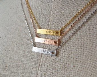 Heart Cut Out Chicago Bar Necklace, 14k Gold plated/Rose Gold/Silver, Dainty Necklace