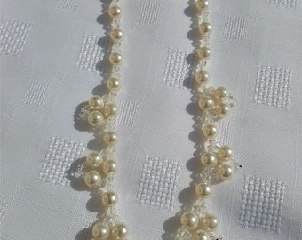 PEARL NECKLACE and EARRINGS Set Bridal Wedding Occasion glass pearls and crystal bycone beads