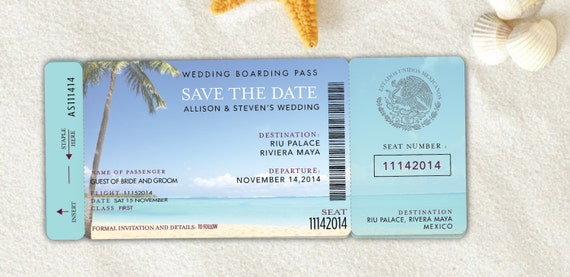 Boarding Pass Wedding Invitation Save The Date Destination - Boarding pass wedding invitation template