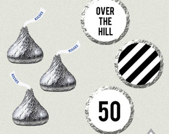 Over the Hill Hershey Kiss Labels, 50th birthday kisses, Printable Kiss Labels, DIY Kiss Stickers, 50 birthday party, over hill printables