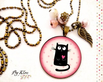 Necklace • black • cat angel wing heart polka dot pink glass Cabochon necklace