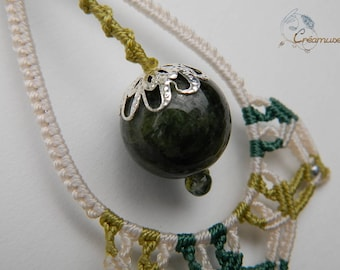 Green necklace woven macrame, watermelon tourmaline natural water, natural stone macrame jewelry, macrame gemstone jewelry