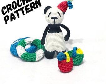 CROCHET AMIGURUMI panda PATTERN crochet panda, panda amigurumi, Easy amigurumi crochet stuffed animal , Basket, Pdf download
