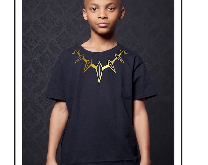 Black Panther Necklace T-Shirt (PLEASE SPECIFY Glitter OR Distressed Foil)