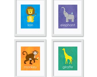 Safari Nursery Art Prints - Set of Four 8x10 Art Prints - Nursery Art, Childrens Art, Room Decor, Kids Wall Art, Nursery Decor, Kids Decor