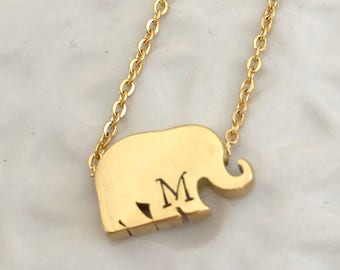 Elephant gold personalized hand stamped necklace charm