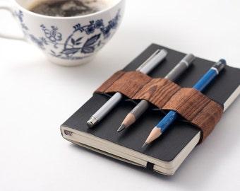 Mini Bandolier // wood grain // (a better pencil case, journal pen holder, book strap, pen loop, pencil roll, pen bandolier)