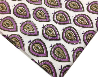 Block Print Cotton Fabric -  Indian Cotton Fabric in Lavender, White and Olive Green - Border Fabric