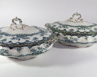 French Antique French Vegetable Dishes Transferware